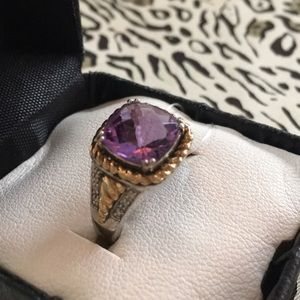 Jewelry - .925 Real Silver & 14 Karat Amethyst Square Ring
